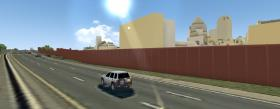 A rendering of how a proposed noise wall along I-277 would block skyline views.