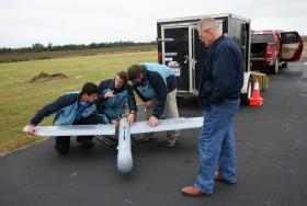 Readying a drone for flight in Hyde County, North Carolina