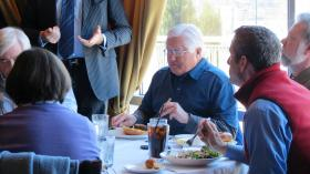 Hickory mayor Rudy Wright and council members learn more about the Little Sugar Creek Greenway during lunch at Dressler's near uptown. Construction of Charlotte's greenway began in early 2008 and was completed in 2013.
