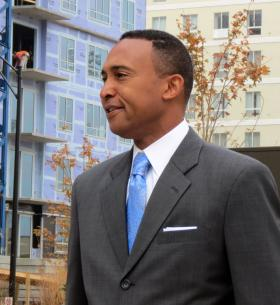 Patrick Cannon (then mayor-elect) speaks at the opening of Romare Bearden Park in November 2013.