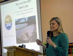 We Love Mountain Island Lake organizer Sara Behnke discusses coal ash ponds at Duke's decommissioned Riverbend plant.