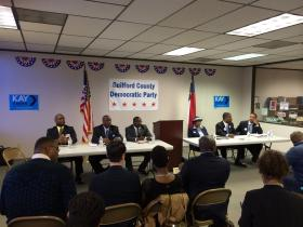 Candidates for the Democratic nomination for the 12th Congressional district prepare for a forum in Greensboro, March 27, 2014.