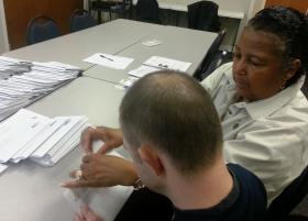 Stephaney Gaddy works with a 33-year-old with developmental disabilities at the Arc of Mecklenburg County.