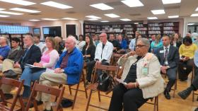 Dozens of precinct leaders and residents attended the North Carolina Senate District 37 forum on Tuesday night at the Asian Library near uptown.