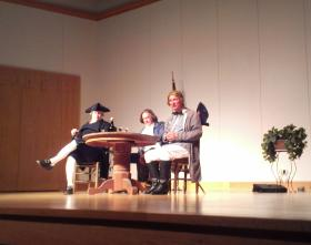 Kevin Grantz was in character as George Washington and president of Central Piedmont Community College Tony Zeiss played Captain James Jack during a forum at Central Piedmont Community College. Captain Jack told the story of developing saddle-sores while delivering the Meck Dec to Philadelphia.