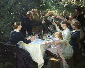 Hip, hip, hurra! Konstnärsfest på Skagen by Peder Severin Krøyer