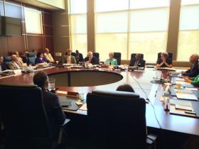 Winthrop University Trustees voted June 26, 2014 to fire President Jamie Comstock Williamson. Board Chair Kathy Bigham (C) reads a statement.