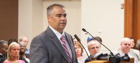 Rodger Rochelle, the NCDOT's technical services director, addressed the Cornelius Town Board Monday.