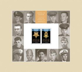 The new Korean War Medal of Honor Stamp Sheet. The stamp with the photo of Rodolpho Hernandez is to the far right, second from the bottom.