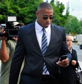 Carolina Panthers defensive end Greg Hardy walks to court Tuesday morning, July 15, 2014, to face charges that he beat up his ex-girlfriend during an altercation at his residence in May.