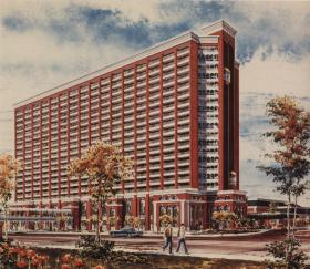 Artist rendering from the 1980s of the completed Heritage Tower. The tower was never finished and now sits in disrepair.