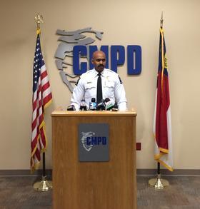 CMPD Deputy Chief Kerr Putney talks about the Harris' arrest, August 6, 2014.