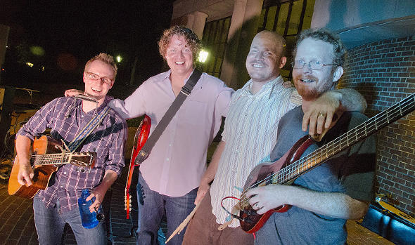 Cast Iron Filter reunited at Davidson reunions Saturday, June 9. From left, Dustin Edge, Mike Orlando, Tim Helfrich, Mason