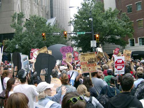 Protestors converge on 5th and College Streets in Charlotte last week. Photo: Julie Rose