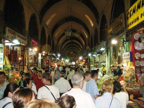 A regular crowd in the Bazaar