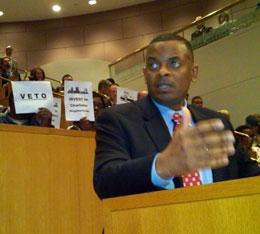 Mayor Foxx making a final plea to the city council for approval of the 8 percent tax hike on May 25, 2012. Photo: Julie Rose.