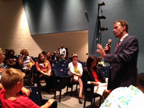 CMS Superindendent Heath Morrison holds town hall meething at Rocky River High School. Photo: Lisa Miller