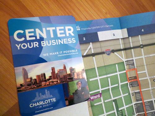47,000 pocket maps of Uptown Charlotte that will be distributed to convention attendees and visitors.