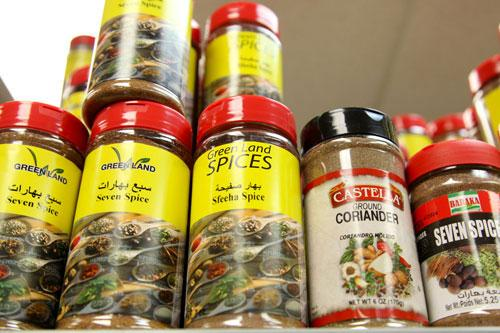 Shelved spices at Cedar Land Mediterranean Market.
