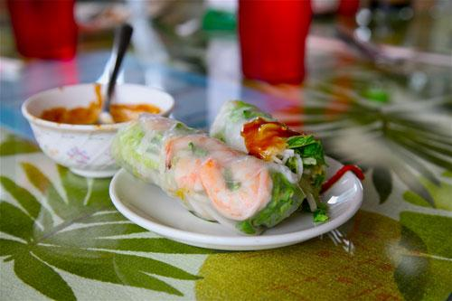 Shrimp rolls, with dribbles of peanut sauce, from Ben Thanh, a Vietnamese Restaurant on Central Avenue.