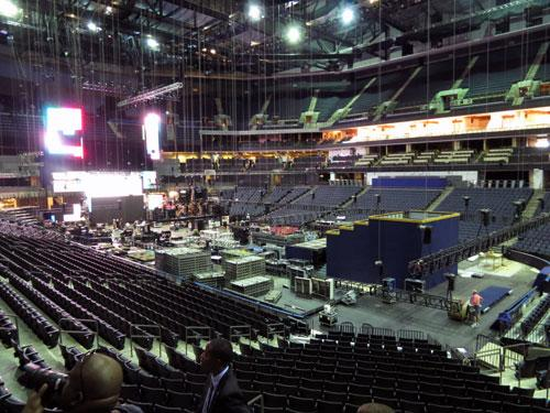 Reporters got a preview Wednesday of the arena as workers prepare for the DNC. Photo: Greg Collard