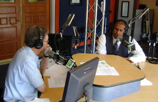 Tavis Smiley with Mike Collins in our Spirit Square studio.
