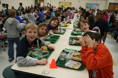Most of the students at Highland Creek Elementary buy lunch at the cafeteria, but a good number also bring food from home.