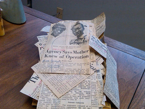 Old newspaper clippings about NC's eugenics program. Phtoto: Julie Rose