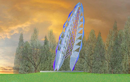 An artist rendering of a steel and glass sculpture in the shape of a feather standing-on-end that will greet passengers driving
