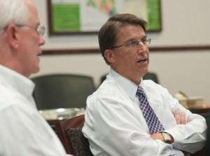 Pat McCrory (right) and Carroll Gray