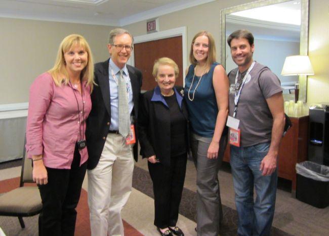 Charlotte Talks staff Wendy Herkey, Mike Collins, Madeleine Albright, Erin Sutton and Tim Ross.