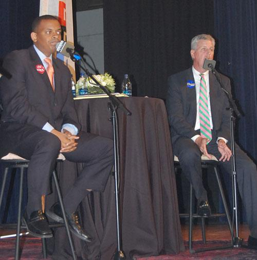 Charlotte mayoral candidates (from left) Anthony Foxx and John Lassiter.