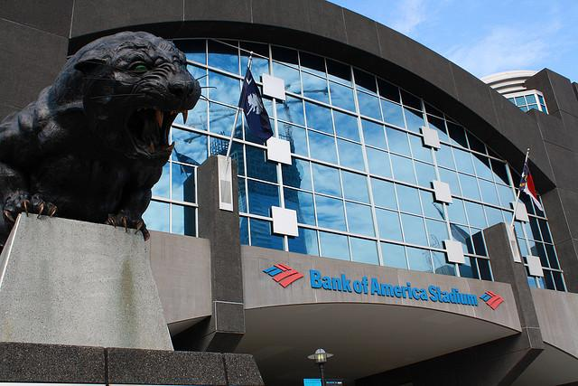 Bank of America Stadium had been the planned location for President Obama's speech Thursday. With the threat of rain, the speech has been moved to Time Warner Cable Arena.