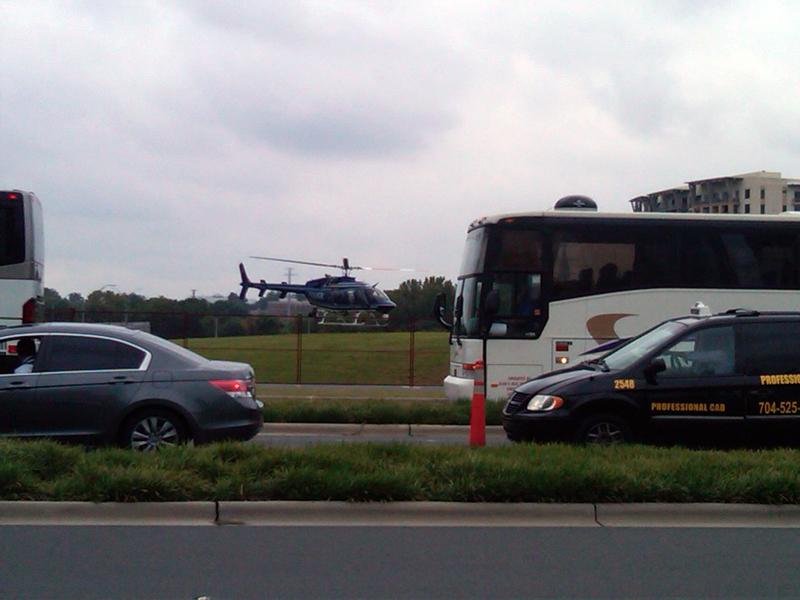 On Tuesday, CMPD helicopter landed in the median between 277 and Stonewall/Caldwell. Chief Monroe climbed aboard for a look at things from above.