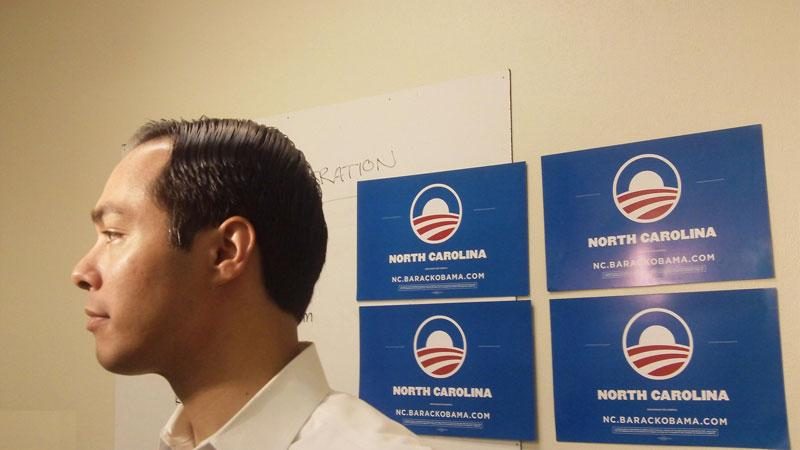 San Antonio Mayor Julian Castro answers questions from reporters after a speech at an Obama campaign office in East Charlotte on Tuesday.