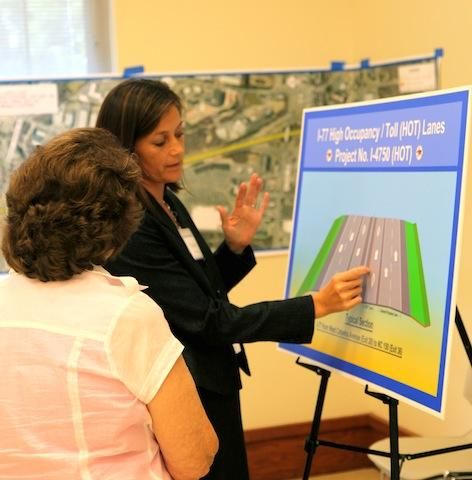NCDOT officials and members of the transportation consulting firm RK & K answered questions about the project. Photo: Tanner