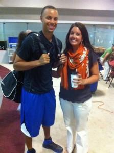 Stephen Curry posed with Lauren Biggers, Davidson College's assistant sports information director, as he headed off to class