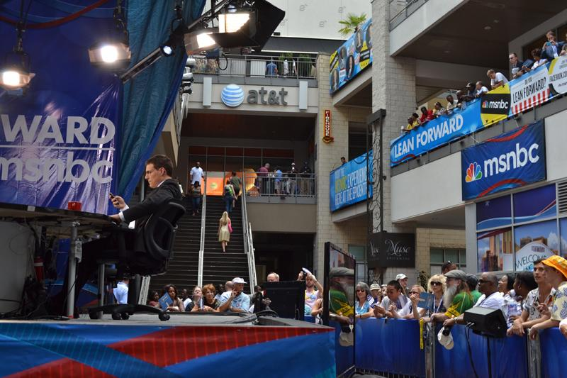 "MSNBC host Steve Kornacki and an audience wait for ""The Cycle"" to broadcast live from the Epicenter on Monday."
