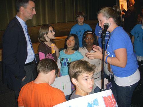 Davidson IB students speak with CMS Board Chair Eric Davis