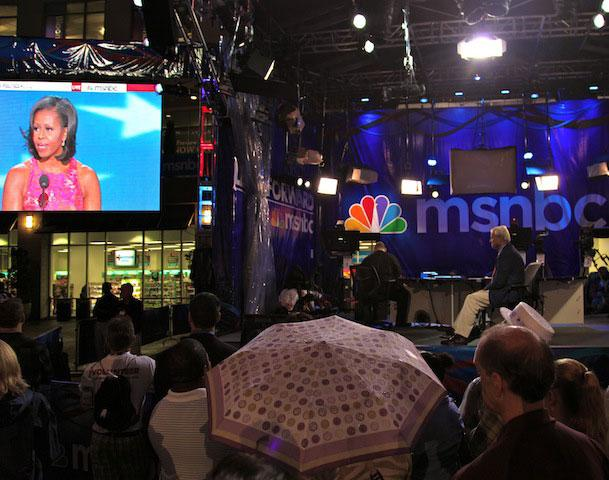 About 75 people gathered around the MSNBC stage at the Epicentre last night to watch First Lady Michelle Obama's speech.