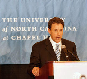 Larry Fedora, as pictured in 2011, shortly after the university hired him as head coach.