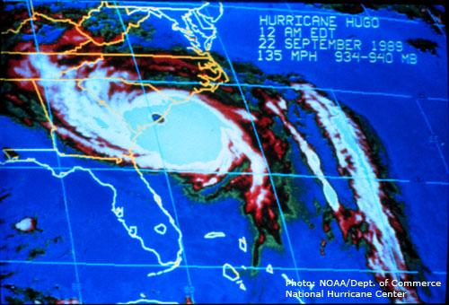 Satellite image of Hurricane Hugo as the eye came ashore near Charleston, S.C.