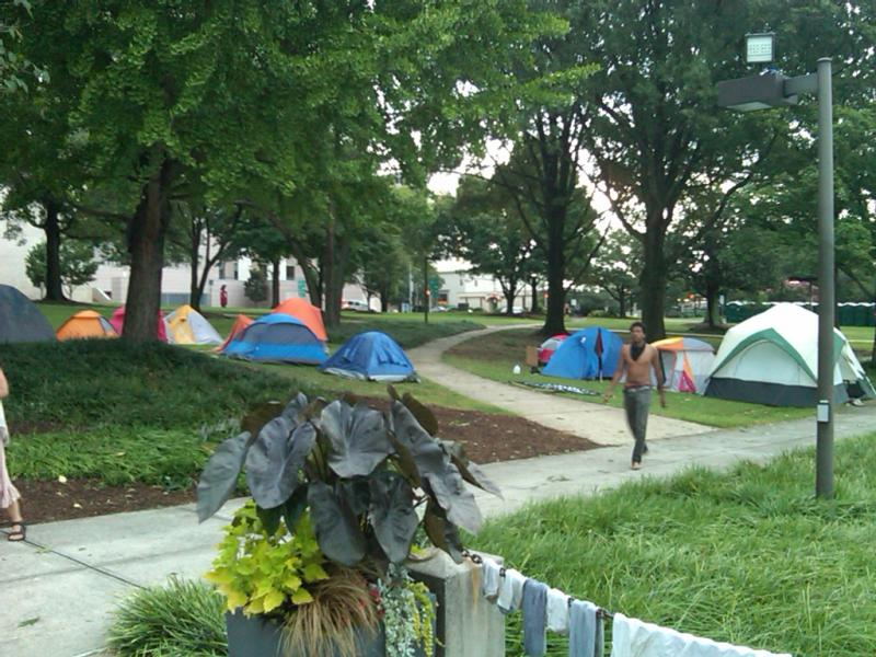 Occupy Wall Street demonstrators camped in Marshall Park on Saturday night.