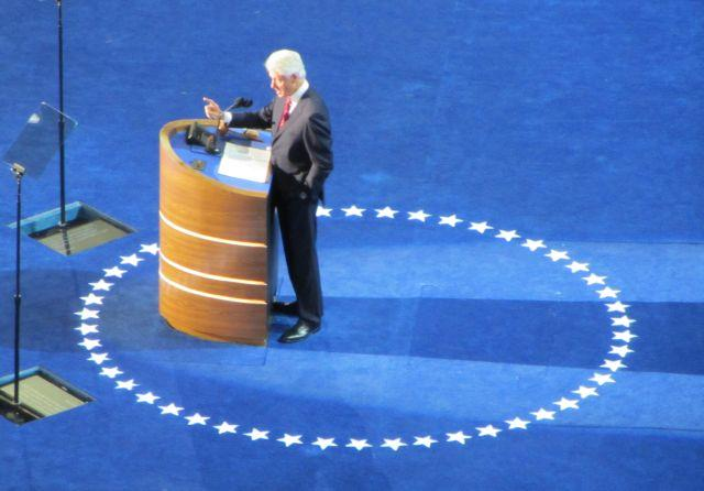 President Bill Clinton delivers his speech at Time Warner Cable Arena Wednesday.
