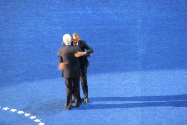 President meets President. Barack Obama meets Bill Clinton on stage after Clinton's speech Wednesday.