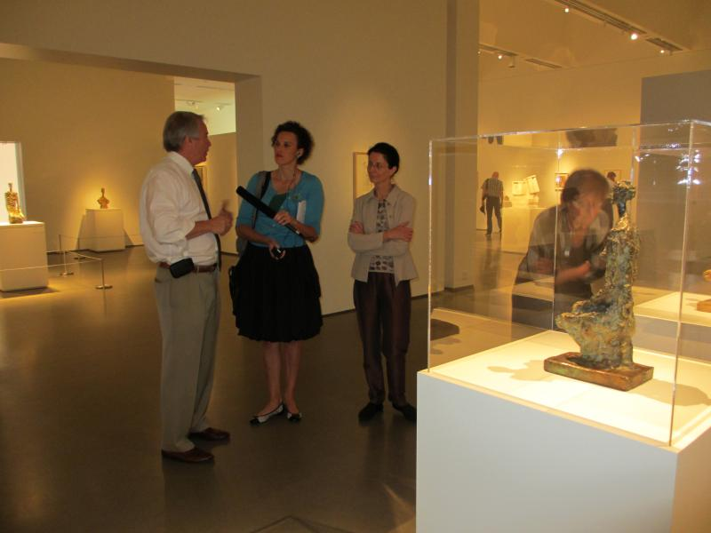 WFAE's Julie Rose interviews John Boyer (Bechtler Museum) and Veronique Wiesinger (Giacometti Foundation) at the Bechtler Museum of Modern Art.