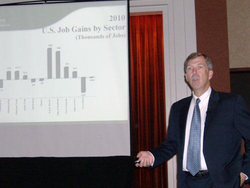 Economist John Connaughton presents one of his economic impact studies.