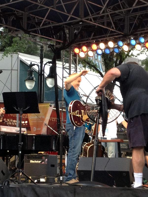Jeff Bridges and his band will play at CarolinaFest. Here they do a sound check.