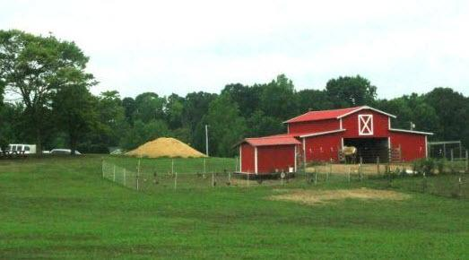 The iconic red barn of Carolina Farms, a fully functioning farm that employs and is home to autistic individuals in Stanly County.