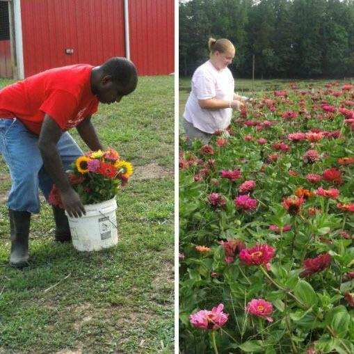 Nicholas (left) is an employee of the Community Supported Agriculture Program and also supported by the organization. Sara Dailey (right) is a staffer at Carolina Farms.